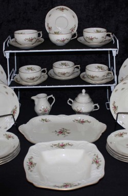 Rosenthal Continental China, Sanssouci Rose Ivory Pattern 20480 , A 41 Piece Set with Platter