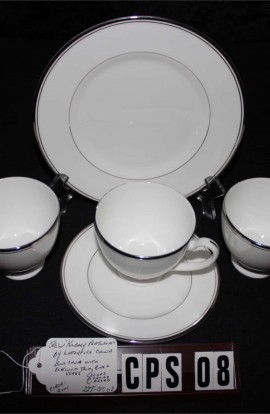 Waterford Fine Bone China Platinum Kilbarry Pattern WFCKIP , 5 Pieces , 3 Cups , 1 Dessert and  1 Dinner Plate