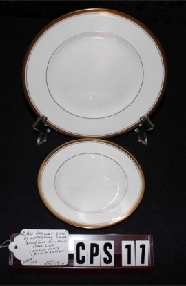 Waterford Fine Bone China Harcourt Gold Pattern WFCHAR , 2 Pieces , Salad and Dessert Plates