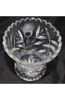 American Brilliant Cut Antique Crystal and Sunflower Etched 6 inch Vase