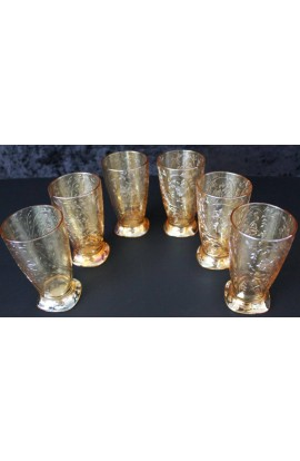 Jeanette Glass Louisa Irridescent JEGLOUI Floragold Pattern Vintage 10oz Glass Set