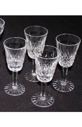 Waterford Cut Crystal Lizmore Pattern Vintage Stemmed 2oz Sherry Glasses Set