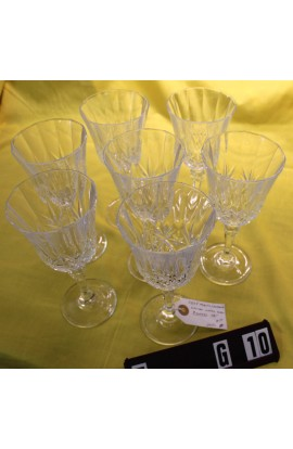 Cris D Arques Durand Cut Crystal Danube Craden Pattern Vintage Water Goblets Set