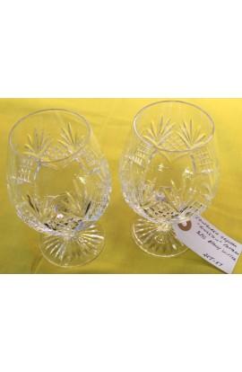 Edinburgh Cut Crystal Kingston Pattern Set of Two Stemmed Brandy Glasses