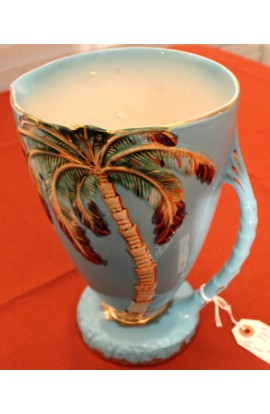 Beswick Ware England Vintage Sky Blue Vase Palm Tree Pattern 1068 Eight Inches Tall