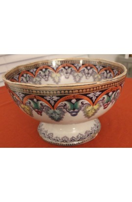 David Lockhart Co Large Antique Scottish Pottery Punch Toddy Bowl in the Peru Pattern