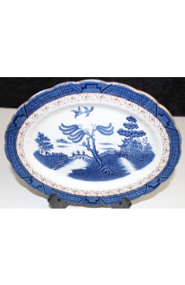 Booths China The Old Blue Willow A8025 Antique Ironstone Oval Platter Over 12inch