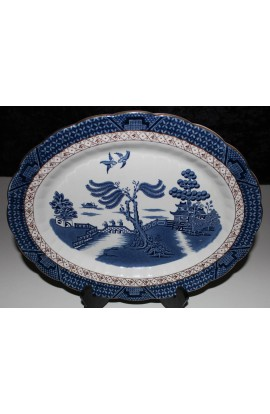 Booths China The Old Blue Willow A8025 Ironstone over 13inch Antique Oval Platter