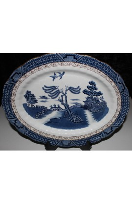 Booths China The Old Blue Willow Pattern A8025 Antique Oval Platter Over 15 Inch