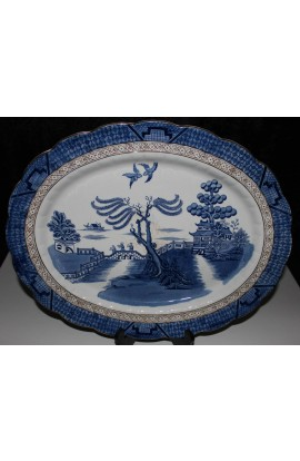Booths China The Old Blue Willow A8025 Antique Ironstone Oval Platter Over 18inch