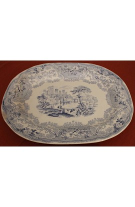 Clyde Pottery British Rivers Pattern Antique Blue and Cream Ironstone Meat Platter