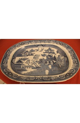 Staffordshire China Blue Willow Pattern Large Antique Ironstone Meat Platter