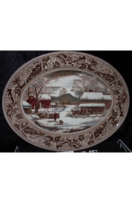 Johnson Brothers Ironstone America Thanksgiving Pattern Vintage Meat Platter