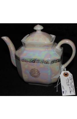 Square Multi Color Opalescent Lustreware Greek Key Pattern Antique Teapot