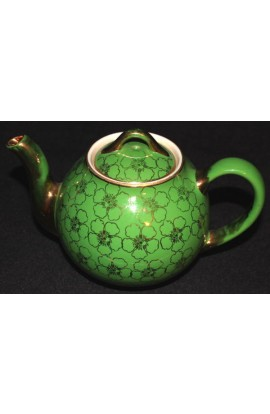 Hall China Company Fine China Pattern O52S Chartreuse 22kt Gold Antique Tea Pot