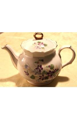 Sadler English Signed Vintage Porcelain Teapot Ivory with Wild Violets Pattern