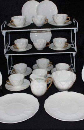 Shelly Fine Bone China White Ware Dainty Tea Cup Pattern Vintage Tea Set , 39 Piece Set , Service for Twelve