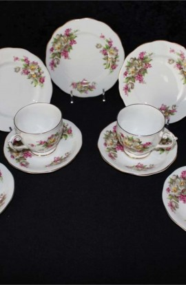 Bell Fine Bone China Vintage Floral Tea Trio Sets by Shore and Coggins , 13 Pieces