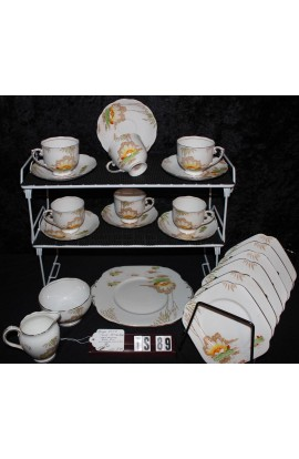 Roslyn Fine Bone China Lily Pattern 5481 Vintage 21 Piece Tea Set