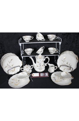 Lefton Fine China Wheat Pattern 20183 Vintage Hand Painted Coffee Snack Set