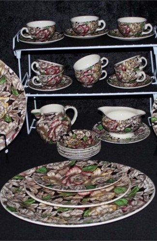 Myott Sons and Co Bermuda Brown Chintz Pattern Ironstone Dinnerware