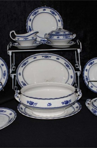 LOSOL Ware Keeling Company Shrewsbury Blue Pattern Fine Bone China Dinnerware