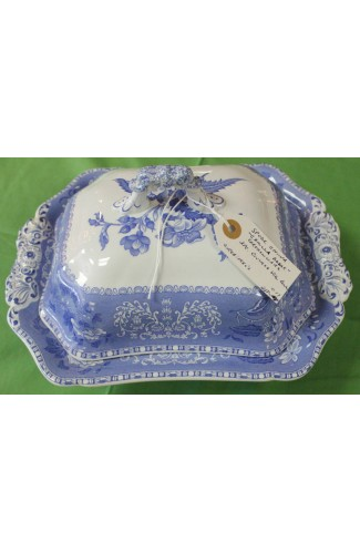 Spode Earthenware Vintage Camilla Blue Pattern Rectangular Covered Vegetable Bowl