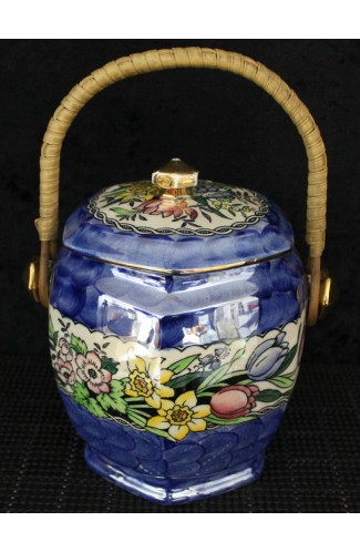 Maling Pottery Co Vintage and Rare Blue Lustre Biscuit Barrel Springtime Pattern 6525