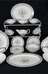 Susie Cooper Production Blue Orchid Pattern Dinnerware 35 Piece Set