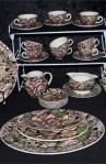 Myott Sons and Co Bermuda Brown Chintz Pattern Ironstone Dinnerware 42 Piece Set with Platters