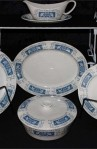 Crown Ducal Marina Pattern Fine Bone China Dinnerware 17 PC Set with Platter and Covered Vegetable Bowl