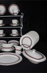 Royal Doulton Minuet Pattern Fine Bone China Dinnerware with Covered Vegetable Bowl , Salad Plates and Gravy Boat