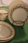 Barratts Indian Scroll Pattern China Dinnerware with Dinner Plates and Creamer
