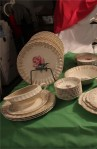 Limoges American Le Fleur Rouge Pattern China Dinnerware with Dinner Plates , Dessert Bowls and Gravy Boat