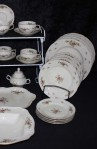 Rosenthal Continental China, Sanssouci Rose Ivory Pattern 20480 with Dessert Plate, Sugar and Creamer