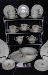 Steubenville USAO Pattern Bone China Dinnerware  53 Piece Set with Platter , Cups and Saucers