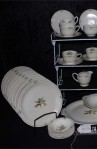 Steubenville USAO Pattern Bone China Dinnerware with Dinner Plates and Dessert Bowls