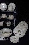 Steubenville USAO Pattern Bone China Dinnerware with Soup Bowls plus Creamer and Sugar