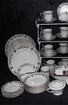 Noritake Buckingham Pattern Fine Bone China Dinner Plates , Dessert Bowls , Cups and Saucers