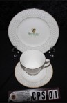 Waterford Fine Bone China Crosshaven Pattern Gold Tea set Trio with Cup , Saucer , and Dessert or Tea Plate