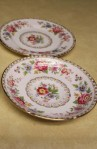 Royal Grafton China Malvern Pattern 6527N , 4 Pieces , Saucer and Dessert Plates , Close Up of Pattern