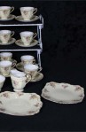 Roslyn Floral Scalloped Fine Bone China Tea Set , two Platters, Sugar and Creamer