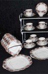 Balmoral Pattern 7867 Pattern Fine Bone China Antique Tea Set , Creamer , Sugar Bowl and Two Platters