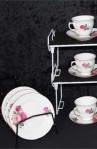Gainesborough Peach and Red Rose H 37 7 Pattern Fine Bone China Vintage Tea Set , Cups and Saucers
