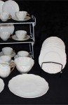 Shelly Fine Bone China White Ware Dainty Tea Cup Pattern Vintage Tea Set , Tea Plates , Creamer and Sugar Bowl