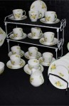 Shelly Primrose 2528 Pattern Fine Bone China Vintage Tea Set , A 37 Piece Set , Service for Eleven