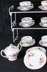 Fine China of Japan Royal Rose Pattern China Vintage Tea Set , Cups , Saucers, and Covered Sugar Bowl