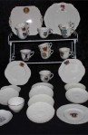 Fords Heraldic Ware Royal Crest Pattern China Antique Tea Set , 32 Pieces with Two Platters