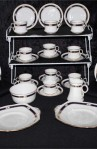 Royal Albert Crown Art Deco Pattern Bone China Vintage Tea Set , A 34 Piece Set , Service for Ten