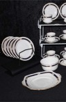 Royal Albert Crown Art Deco Pattern Bone China Vintage Tea Set , Cups, Saucers and Sugar Bowl